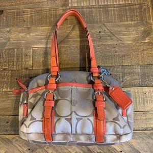 Coach sateen Signature bag orange leather trim